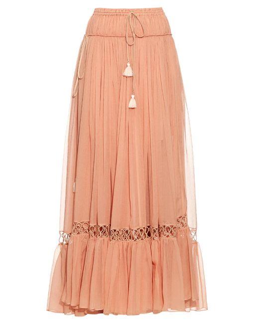 Chloé | Pink Silk-crepon Drawstring Maxi Skirt | Lyst