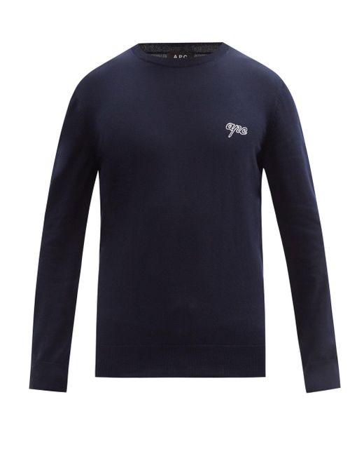 メンズ A.P.C. オティス コットンスウェットシャツ Blue