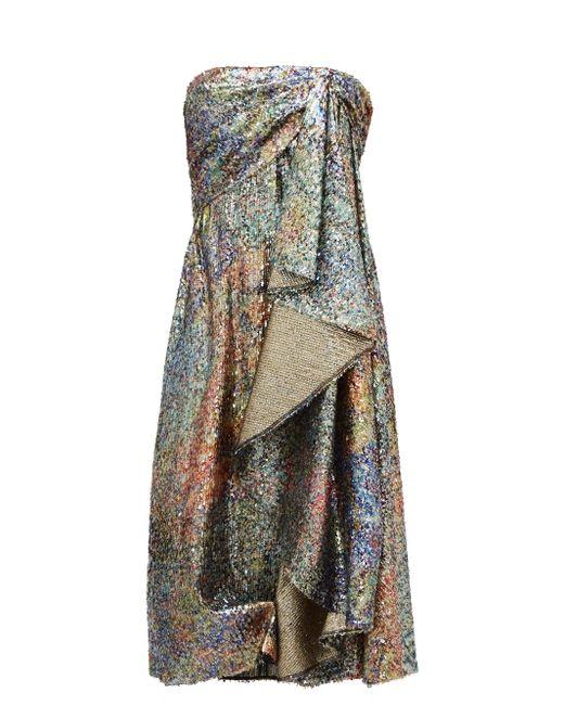 Robe en lamé drapée à sequins Halpern en coloris Multicolor