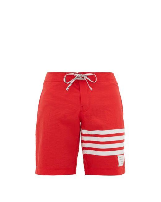 メンズ Thom Browne 4bar スイムボードショーツ Red