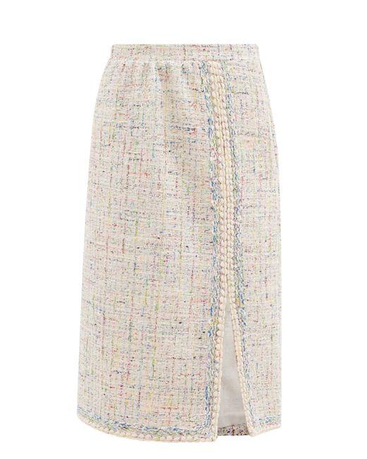 Giambattista Valli レーストリム コットンブレンドツイード スカート Multicolor