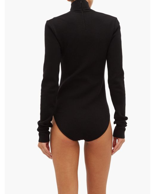 Bottega Veneta スクープネック ウールブレンドボディスーツ Black