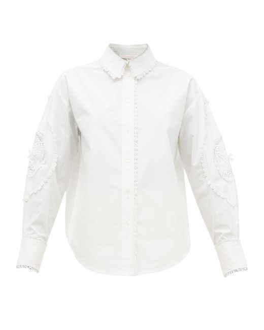 See By Chloé See By Chloé アイレットレース コットンポプリンシャツ White