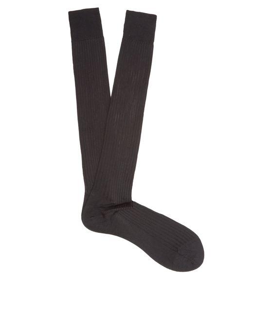 Pantherella - Black Baffin Ribbed Knit Silk Socks for Men - Lyst