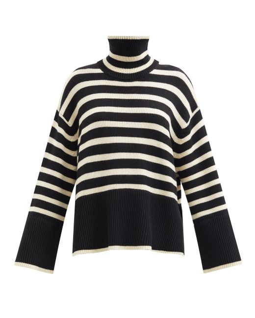 Totême  Black High-neck Striped Wool-blend Sweater