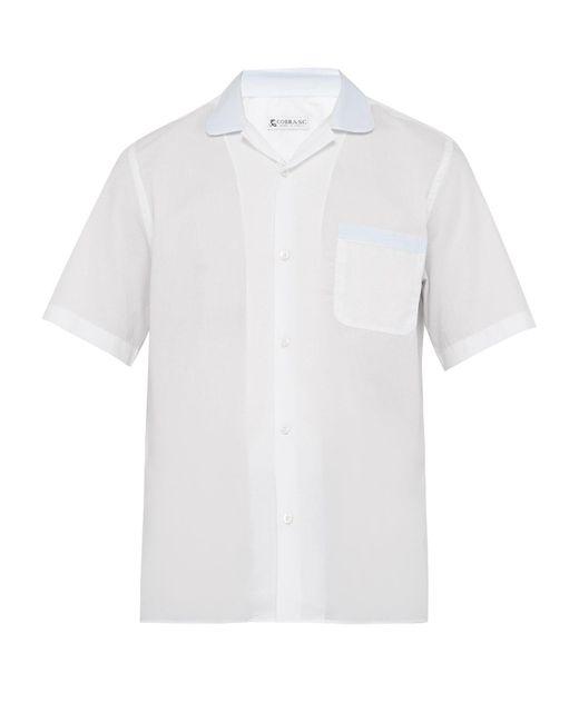メンズ Cobra S.C. コントラストカラー ボウリングシャツ White