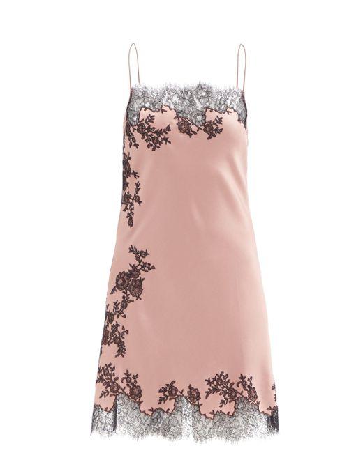 Carine Gilson レーストリム シルクサテン ショートスリップドレス Pink