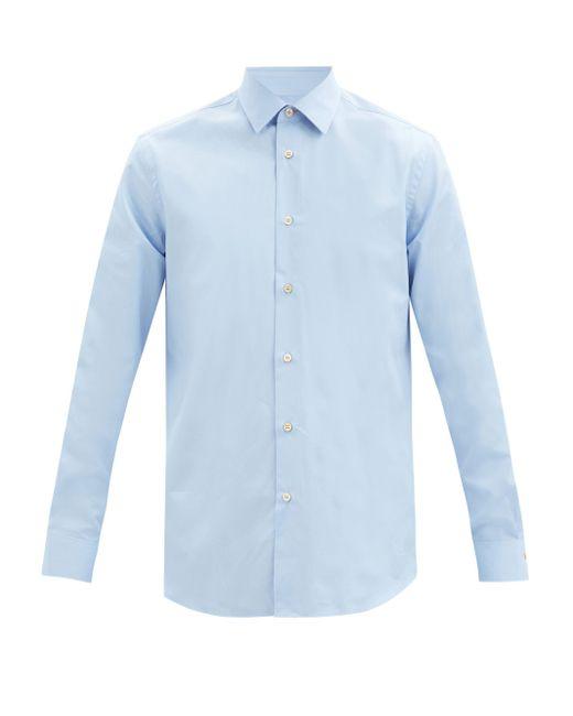 メンズ Paul Smith ポイントカラー コットンポプリンシャツ Blue