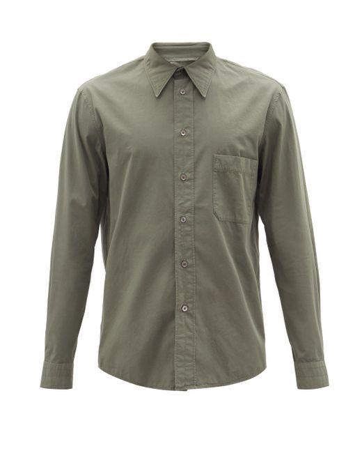 メンズ Lemaire パッチポケット コットンポプリンシャツ Green