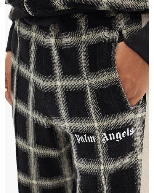 メンズ Palm Angels チェックベロア トラックパンツ Black