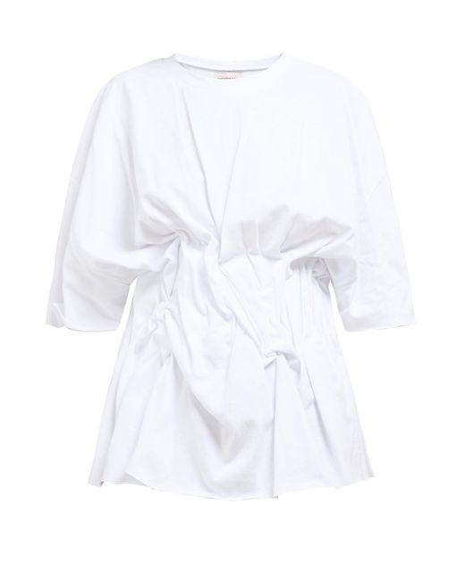 Natasha Zinko ギャザーフロント コットンtシャツ White