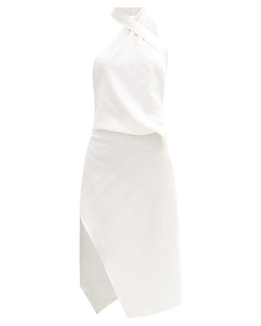 Ludovic de Saint Sernin ホルターネック ウールクレープドレス White