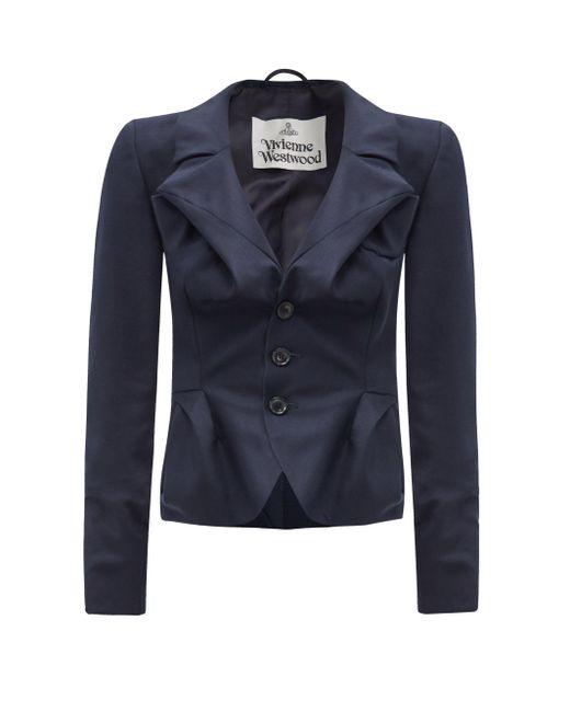 Vivienne Westwood ドレープ ウール シングルジャケット Blue