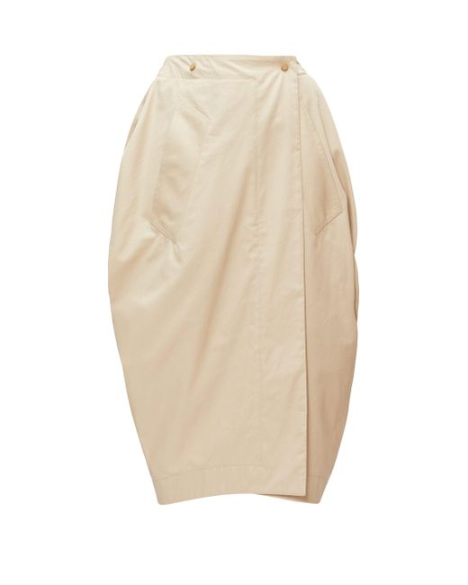 Bottega Veneta チューリップ ラップフロント ポプリンスカート Natural