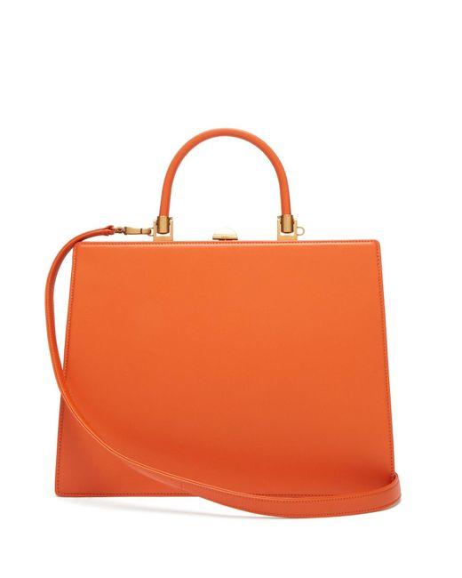 Rodo Orange Frame Top-handle Leather Bag