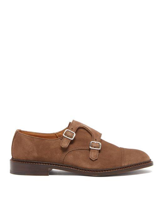 Tricker's - Brown Chaussures en daim à double boucle Rufus for Men - Lyst