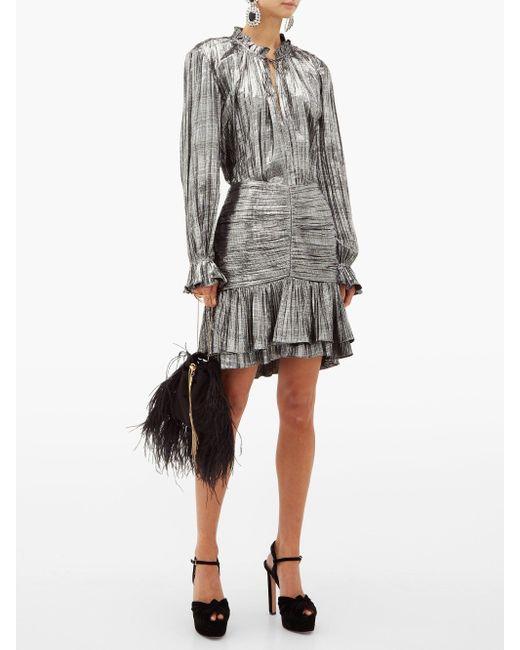 Mini-jupe en lamé plissé à volants Jonathan Simkhai en coloris Gray
