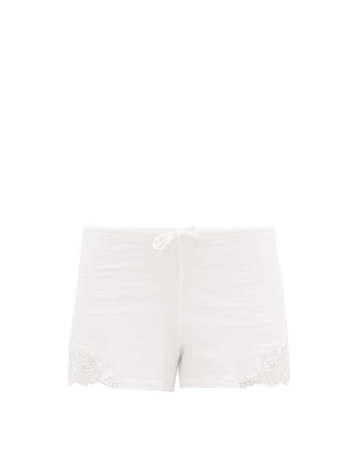 La Perla レーストリム ジャージーパジャマショートパンツ White