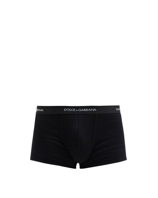 メンズ Dolce & Gabbana シシリー リブコットン ボクサーパンツ Black