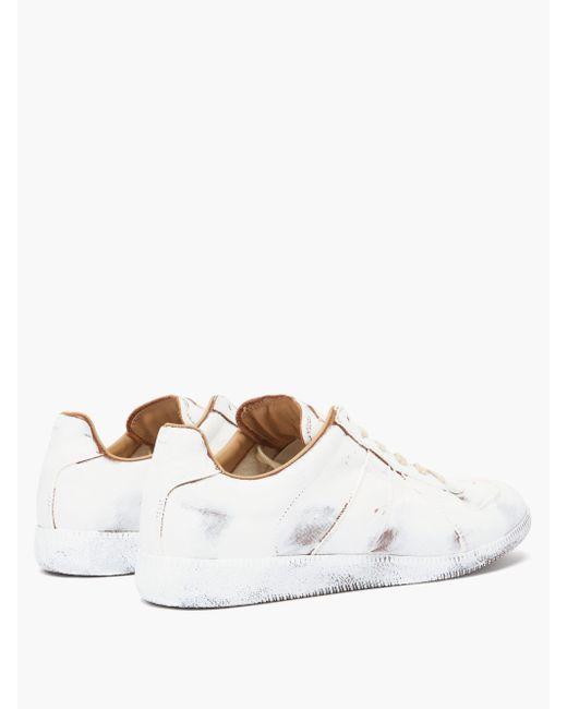 Baskets en cuir peintes Replica Bianchetto Maison Margiela pour homme en coloris White
