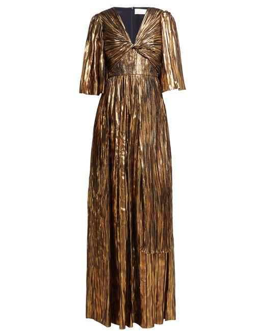 Robe de soirée en mousseline de soie rayée Peter Pilotto en coloris Metallic