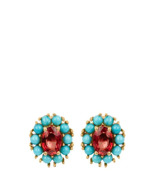 Ileana Makri - Multicolor - Sapphire, Turquoise & Yellow Gold Earrings - Womens - Yellow Gold - Lyst
