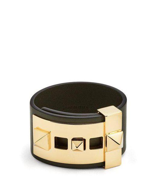 Valentino - Green Rockstud Wide Leather Band Bracelet - Lyst