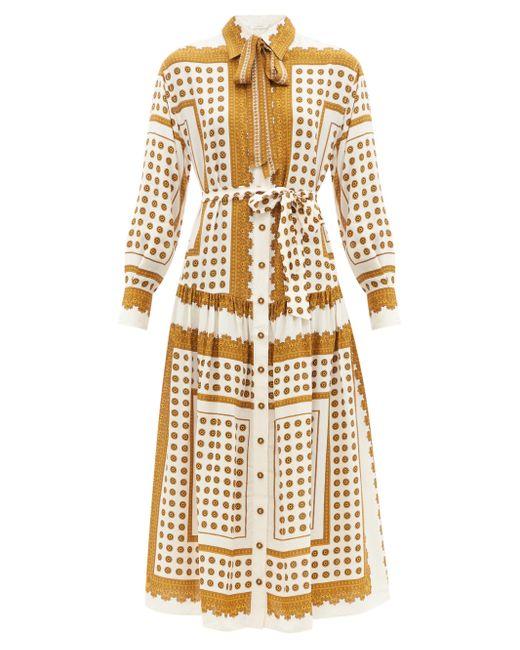 Zimmermann ポルカドット ツイルシャツドレス Brown