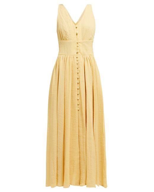 Cult Gaia Yellow Angela V-neck Buttoned Cotton-blend Dress