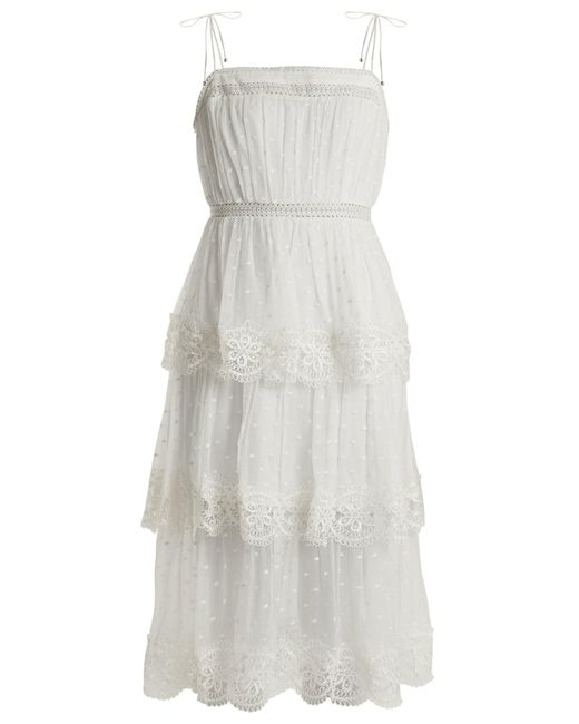 Zimmermann - Multicolor Meridian Circle-lace Silk Dress - Lyst