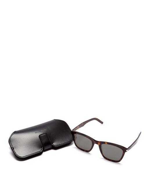 4b86dae4d65d ... Saint Laurent - Brown D Frame Tortoiseshell Acetate Sunglasses for Men  - Lyst ...
