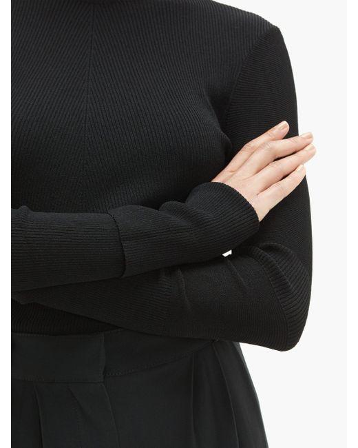 Pull col roulé en maille stretch à chevrons Bottega Veneta en coloris Black