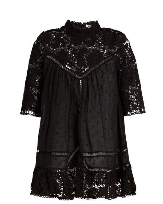 Zimmermann Black Caravan Embroidered Cotton Top