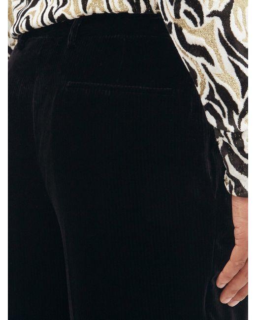 メンズ Saint Laurent ベルベットコーデュロイ クロップドパンツ Black