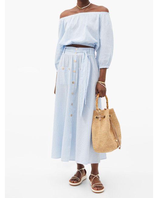 Melissa Odabash アリサ ストライプスカート Blue