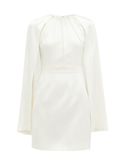 Alexander McQueen ケープオーバーレイ シルクミニドレス White