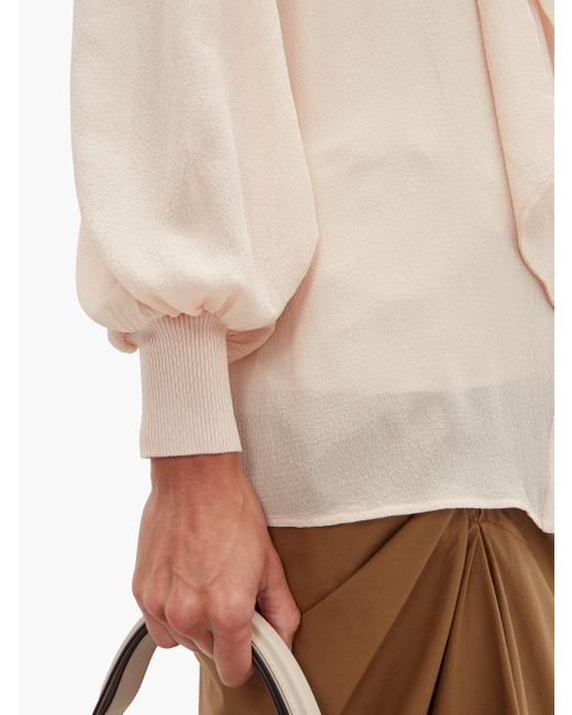 Givenchy ボウタイ シルククレープ ブラウス Natural