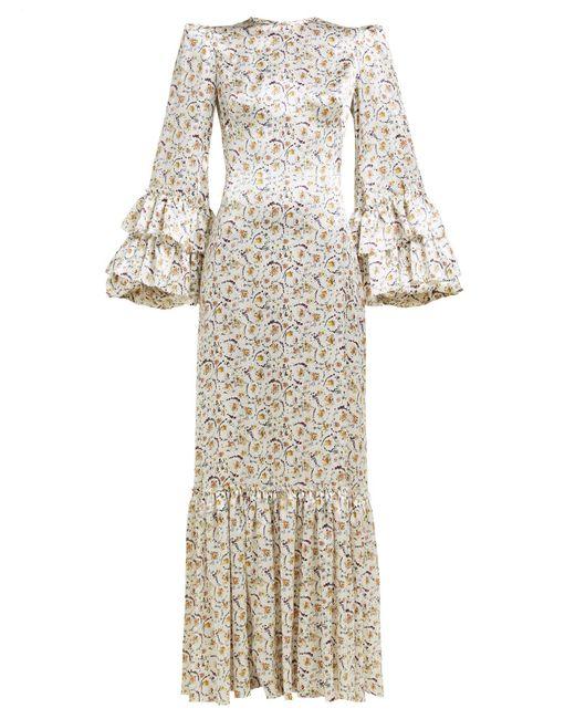 The Vampire's Wife White Festival Ruffled Floral Print Silk Dress