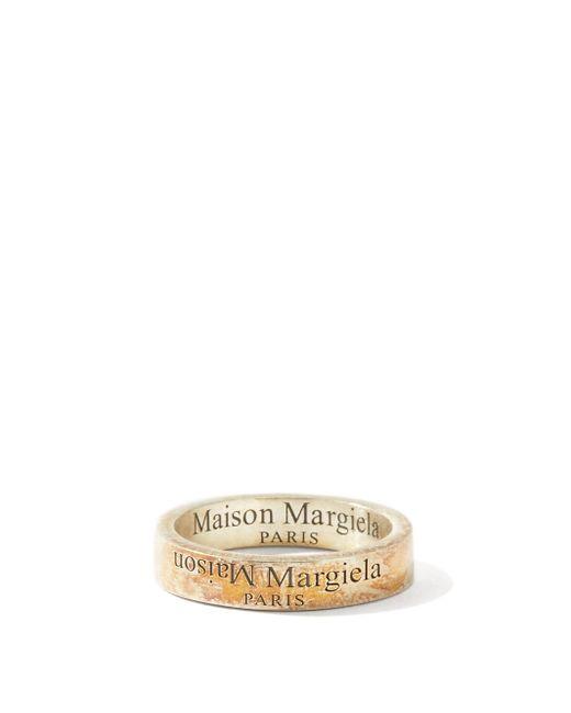 メンズ Maison Margiela ターニッシュド スターリングシルバーリング Metallic