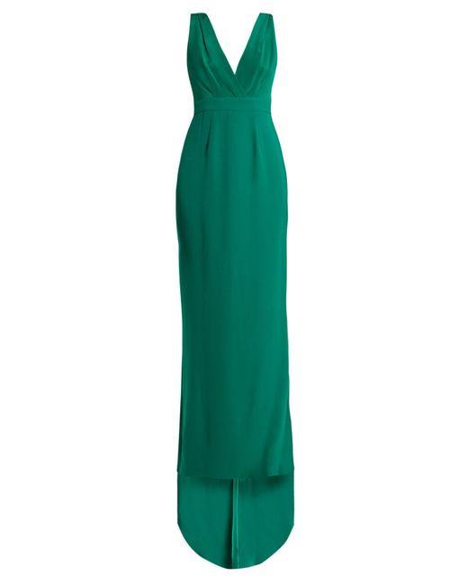 Diane von Furstenberg - Green Deep V Neck Silk Cady Gown - Lyst
