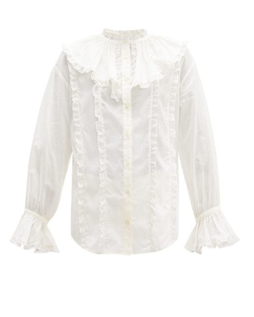 See By Chloé See By Chloé ラッフルカラー レース&コットンブラウス White
