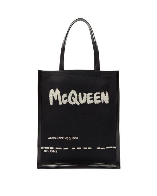 メンズ Alexander McQueen グラフィティロゴ キャンバス&レザートートバッグ Black
