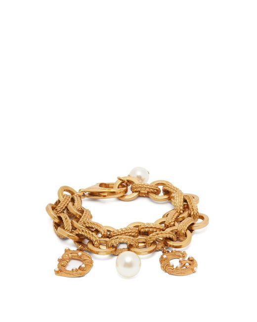 Dolce & Gabbana Metallic Faux Pearl-embellished Logo Charm Bracelet