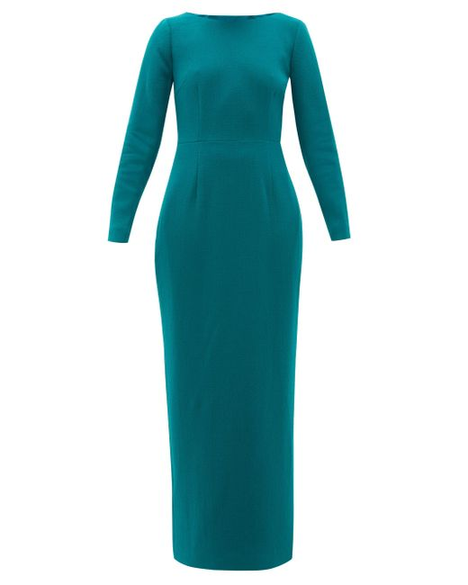 Rebecca de Ravenel Jamie スクープネック ウールクレープドレス Blue