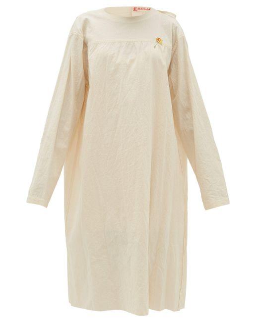 Raf Simons タイバック ノーカラー コットンキャンバスドレス Natural