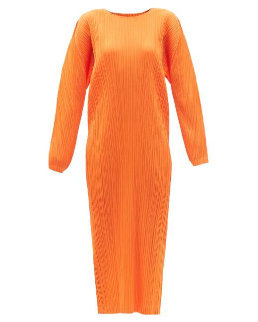 Pleats Please Issey Miyake ロングラインドレス Orange