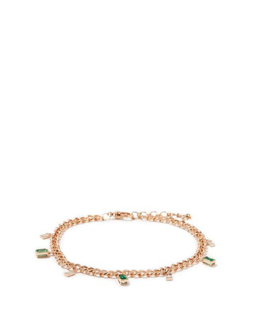 SHAY ダイヤモンド&エメラルド 18kローズゴールドチェーンアンクレット Multicolor
