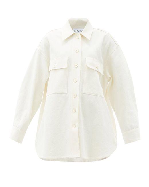 Raey オーバーサイズ コットンリネンツイルシャツジャケット Multicolor