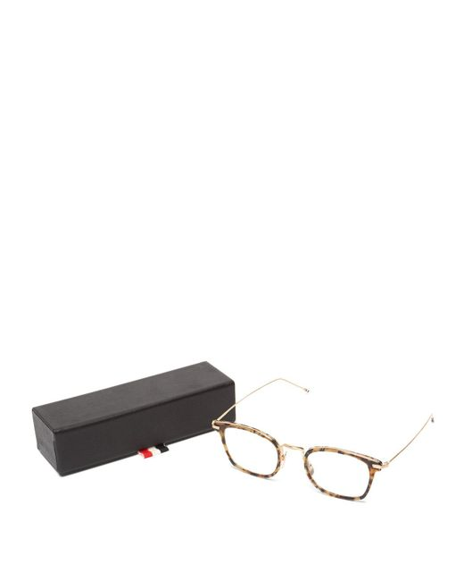 50466ad63d04 ... Thom Browne - Brown D Frame Tortoiseshell Acetate And Metal Glasses for  Men - Lyst ...