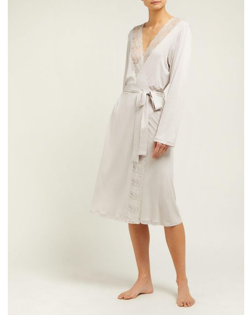 84511165cc ... Hanro - Natural Jolina Lace Trim Jersey Robe - Lyst ...